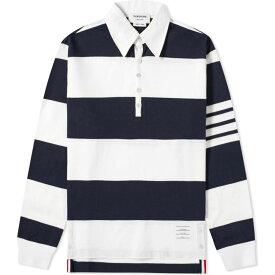 トム ブラウン Thom Browne メンズ ポロシャツ トップス【Oversized 4 Bar Rugby Shirt】Navy