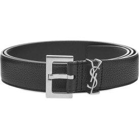 イヴ サンローラン Saint Laurent メンズ ベルト 【metal logo grain leather belt】Black/Silver