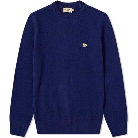 メゾン キツネ Maison Kitsune メンズ ニット・セーター トップス【fox lambswool crew knit】Dark Navy