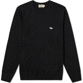 メゾン キツネ Maison Kitsune メンズ ニット・セーター トリコロール トップス【tricolour fox patch crew knit】Black