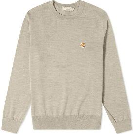 メゾン キツネ Maison Kitsune メンズ ニット・セーター トップス【fox head patch merino crew knit】Beige Melange