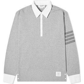 トム ブラウン Thom Browne メンズ ポロシャツ トップス【four bar rugby shirt】Light Grey