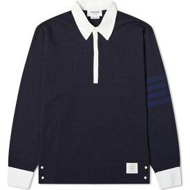 トム ブラウン Thom Browne メンズ ポロシャツ トップス【four bar rugby shirt】Navy