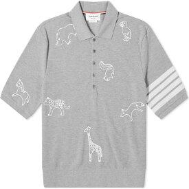 トム ブラウン Thom Browne メンズ ポロシャツ トップス【All Over Embroidery 4 Bar Polo】Pale Grey