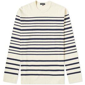 コム デ ギャルソン Comme des Garcons Homme メンズ 長袖Tシャツ トップス【long sleeve stripe tee】Ecru/Navy