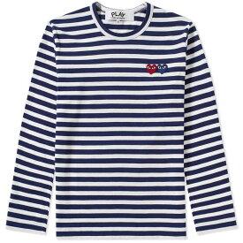 コム デ ギャルソン Comme des Garcons Play メンズ 長袖Tシャツ トップス【double heart long sleeve stripe tee】Navy