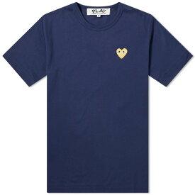コム デ ギャルソン Comme des Garcons Play メンズ Tシャツ ロゴTシャツ トップス【gold heart logo tee】Navy