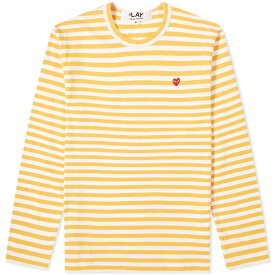 コム デ ギャルソン Comme des Garcons Play メンズ 長袖Tシャツ トップス【little red heart long sleeve stripe tee】Yellow
