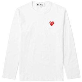 コム デ ギャルソン Comme des Garcons Play メンズ 長袖Tシャツ ロゴTシャツ トップス【long sleeve basic logo tee】White/Red