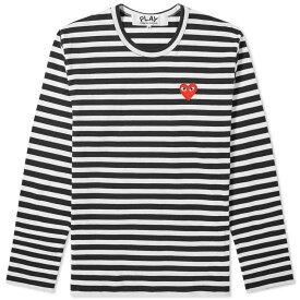 コム デ ギャルソン Comme des Garcons Play メンズ 長袖Tシャツ ロゴTシャツ トップス【long sleeve heart logo stripe tee】Black/White