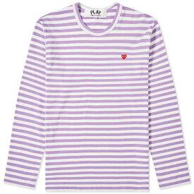コム デ ギャルソン Comme des Garcons Play メンズ 長袖Tシャツ トップス【little red heart long sleeve stripe tee】Purple
