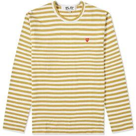 コム デ ギャルソン Comme des Garcons Play メンズ 長袖Tシャツ トップス【little red heart long sleeve stripe tee】Olive