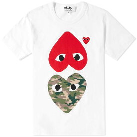 コム デ ギャルソン Comme des Garcons Play メンズ Tシャツ トップス【mix heart tee】White/Camo/Red