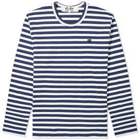 コム デ ギャルソン Comme des Garcons Play メンズ 長袖Tシャツ トップス【little black heart long sleeve stripe tee】Navy