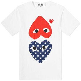 コム デ ギャルソン Comme des Garcons Play メンズ Tシャツ トップス【polka dot mix heart tee】White/Navy/Red