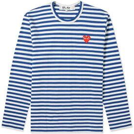 コム デ ギャルソン Comme des Garcons Play メンズ 長袖Tシャツ ロゴTシャツ トップス【long sleeve heart stripe logo tee】Blue/White
