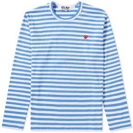 コム デ ギャルソン Comme des Garcons Play メンズ 長袖Tシャツ トップス【little red heart long sleeve stripe tee】Blue