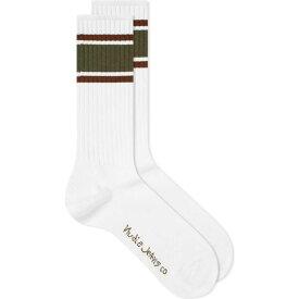 ヌーディージーンズ Nudie Jeans Co メンズ ソックス インナー・下着【Nudie Amundsson Sport Sock】White/Olive
