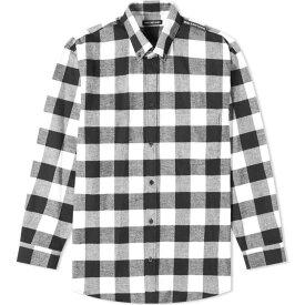 バレンシアガ Balenciaga メンズ シャツ トップス【Tab Logo Checked Shirt】Black/White