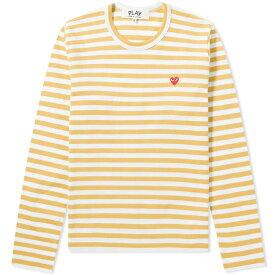コム デ ギャルソン Comme des Garcons Play レディース 長袖Tシャツ トップス【little red heart long sleeve stripe tee】Yellow