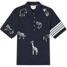 トム ブラウン Thom Browne メンズ ポロシャツ トップス【all over embroidery 4 bar polo】Navy