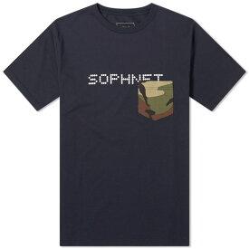 ソフネット SOPHNET. メンズ Tシャツ ポケット トップス【camouflage pocket tee】Navy