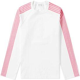 ディマ レウ DIMA LEU メンズ 長袖Tシャツ ラグラン トップス【long sleeve jersey raglan stripe tee】White/Pink