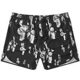 ニール バレット Neil Barrett メンズ 海パン 水着・ビーチウェア【all over print hibiscus swim short】Black/White