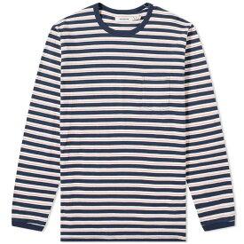 ノンネイティブ Nonnative メンズ 長袖Tシャツ トップス【dweller long sleeve striped tee】Navy