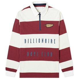 ビリオネアボーイズクラブ Billionaire Boys Club メンズ ポロシャツ トップス【striped zip rugby shirt】Burgundy/White