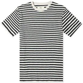 フォーク Folk メンズ Tシャツ トップス【striped tee】Black/Ecru