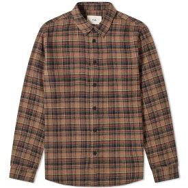 フォーク Folk メンズ シャツ トップス【check shirt】Brown Multi Check