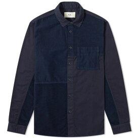 フォーク Folk メンズ シャツ トップス【fraction patchwork shirt】Navy