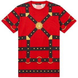 ヴェルサーチ Versace メンズ Tシャツ トップス【harness all over print tee】Red/Black