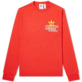 アディダス Adidas メンズ 長袖Tシャツ ロゴTシャツ トップス【Long Sleeve Small Logo Tee】Lush Red