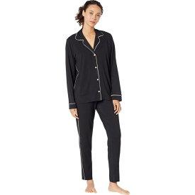 エバージェイ Eberjey レディース パジャマ・上下セット タキシード インナー・下着【Gisele Slim Tuxedo Pajama Set】Black/Sorbet