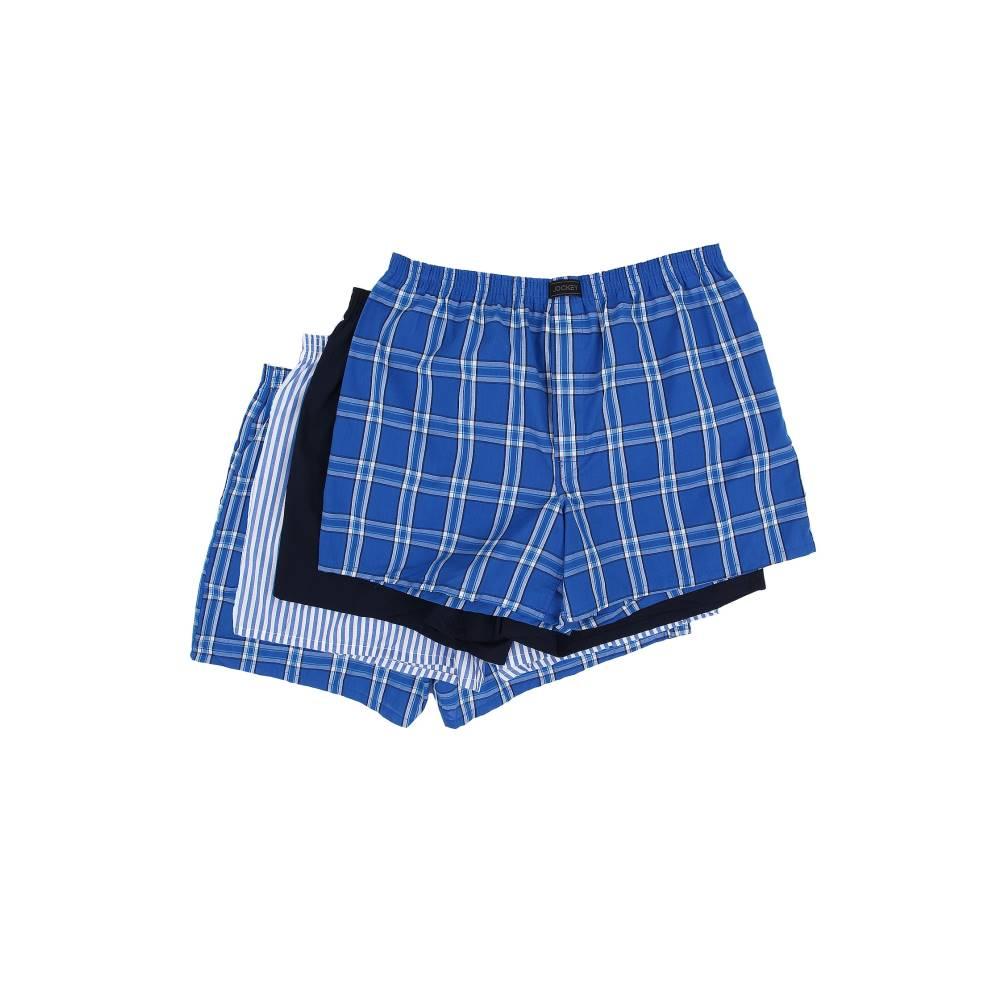 ジョッキー メンズ インナー・下着 ボクサーパンツ【Active Blend Woven Boxer 4-Pack】Blue Plaid/Best Navy/Blue Stripe/Blue Plaid