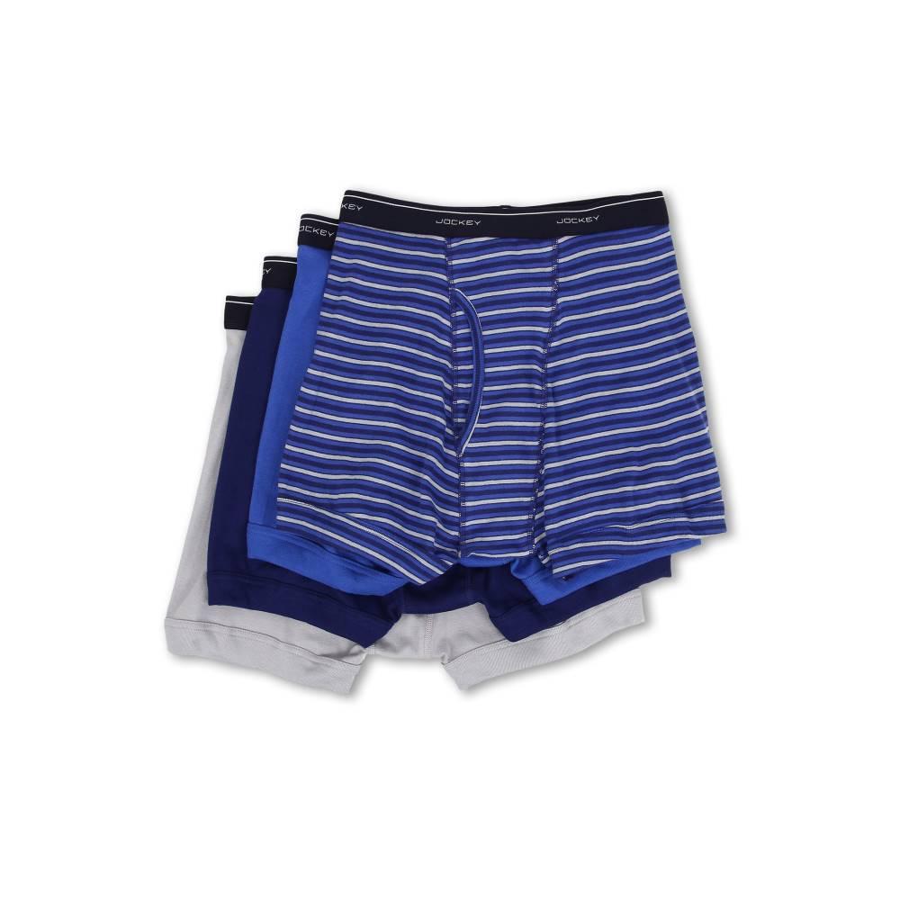ジョッキー メンズ インナー・下着 ボクサーパンツ【Cotton Full-Rise Boxer Brief 4-Pack】Intense Royal/Majestic Blue/Mid Grey