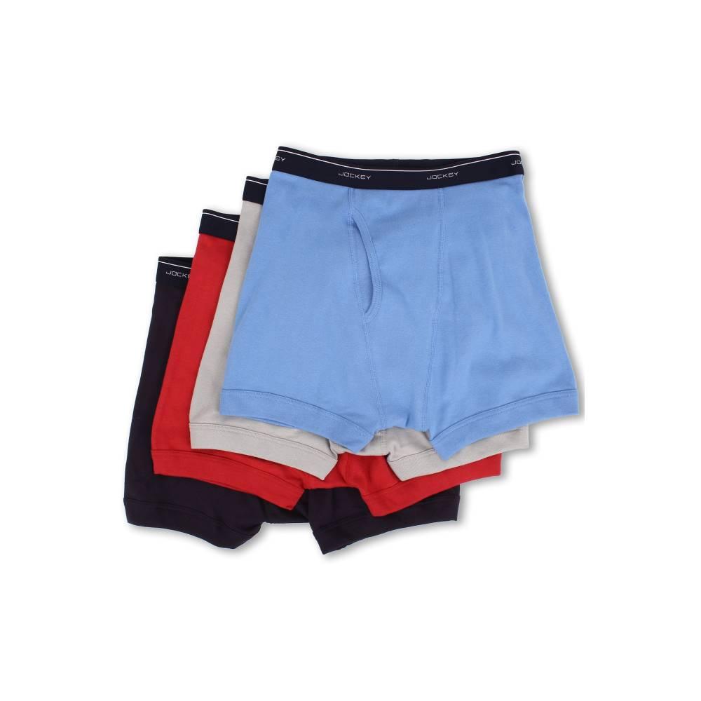 ジョッキー メンズ インナー・下着 ボクサーパンツ【Cotton Full-Rise Boxer Brief 4-Pack】Helios Silver/Silver/Cosmic Blue/Red Virtual