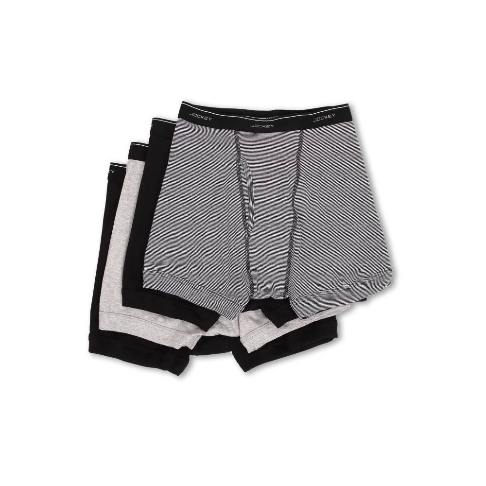 ジョッキー メンズ インナー・下着 ボクサーパンツ【Cotton Full-Rise Boxer Brief 4-Pack】Black/Black Watch/Heather Grey