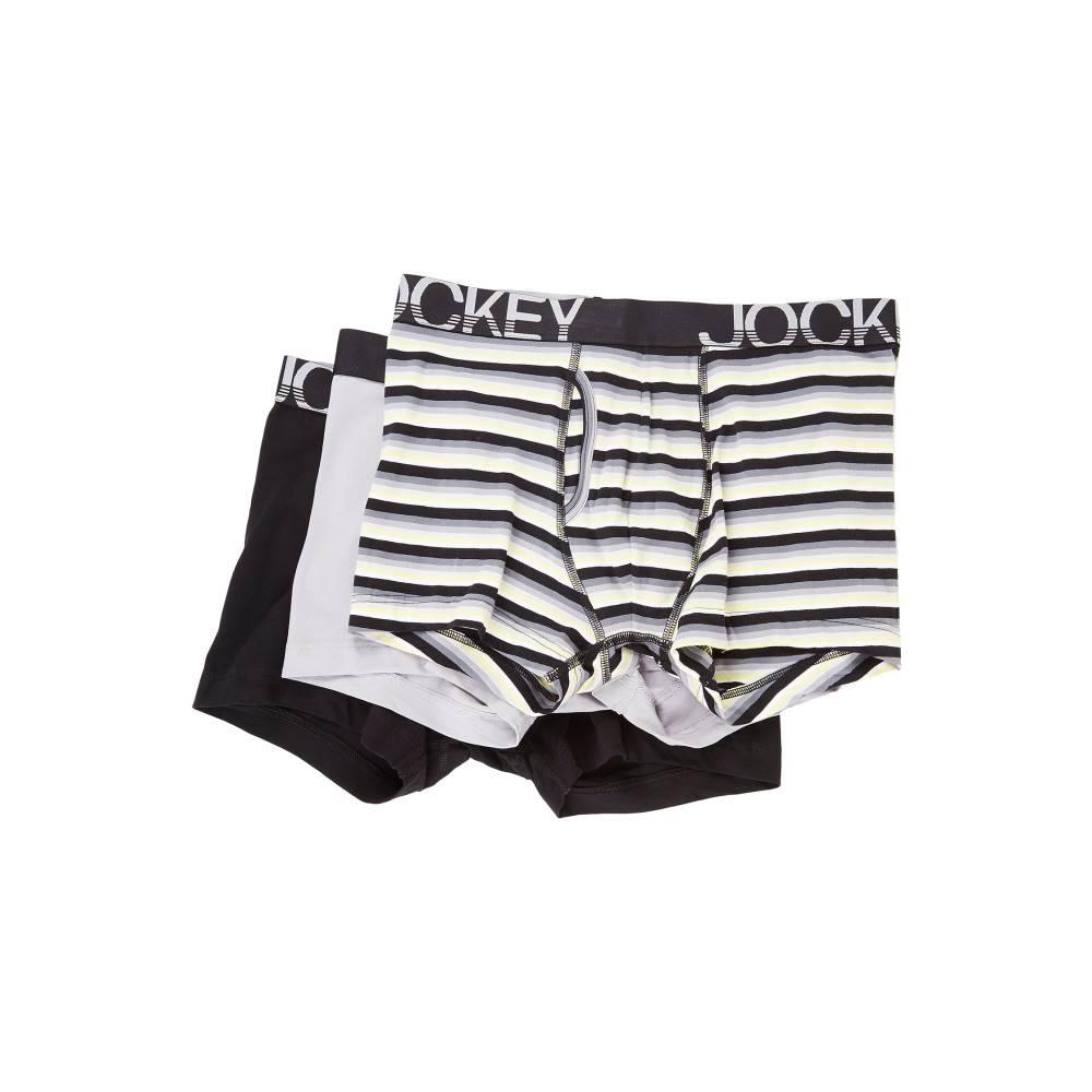 ジョッキー メンズ インナー・下着 ボクサーパンツ【Cotton Low Rise Stretch No Ride Boxer Brief 3-Pack】Grey Sunset Stripe/Mid Grey/Black