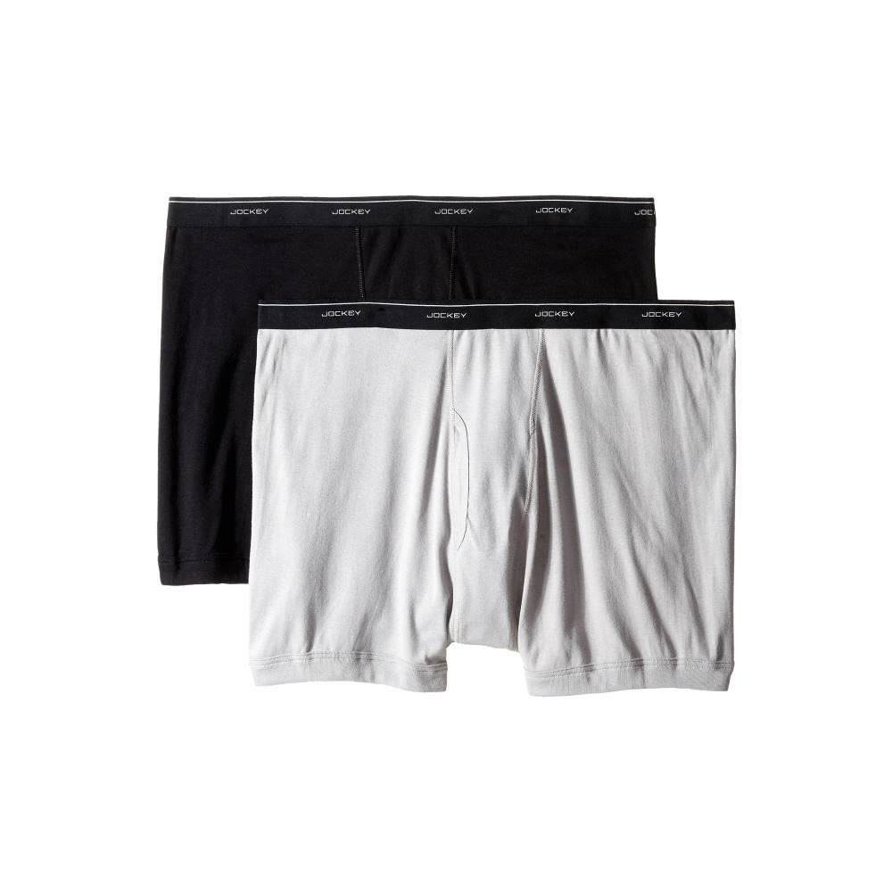 ジョッキー メンズ インナー・下着 ボクサーパンツ【Big Man Cotton Boxer Brief 2-Pack】Black/Grey