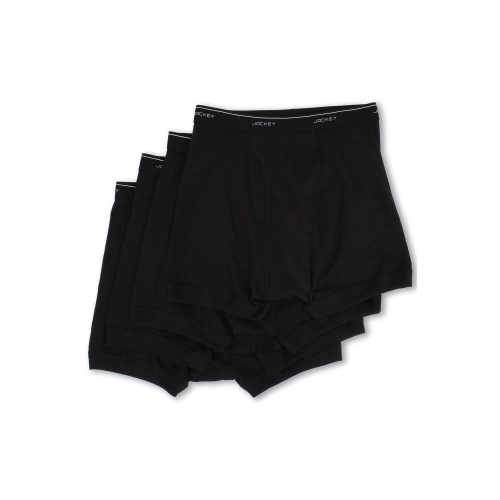 ジョッキー メンズ インナー・下着 ボクサーパンツ【Cotton Full-Rise Boxer Brief 4-Pack】Black