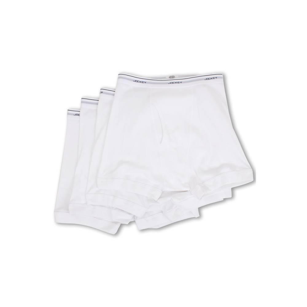 ジョッキー メンズ インナー・下着 ボクサーパンツ【Cotton Full-Rise Boxer Brief 4-Pack】White
