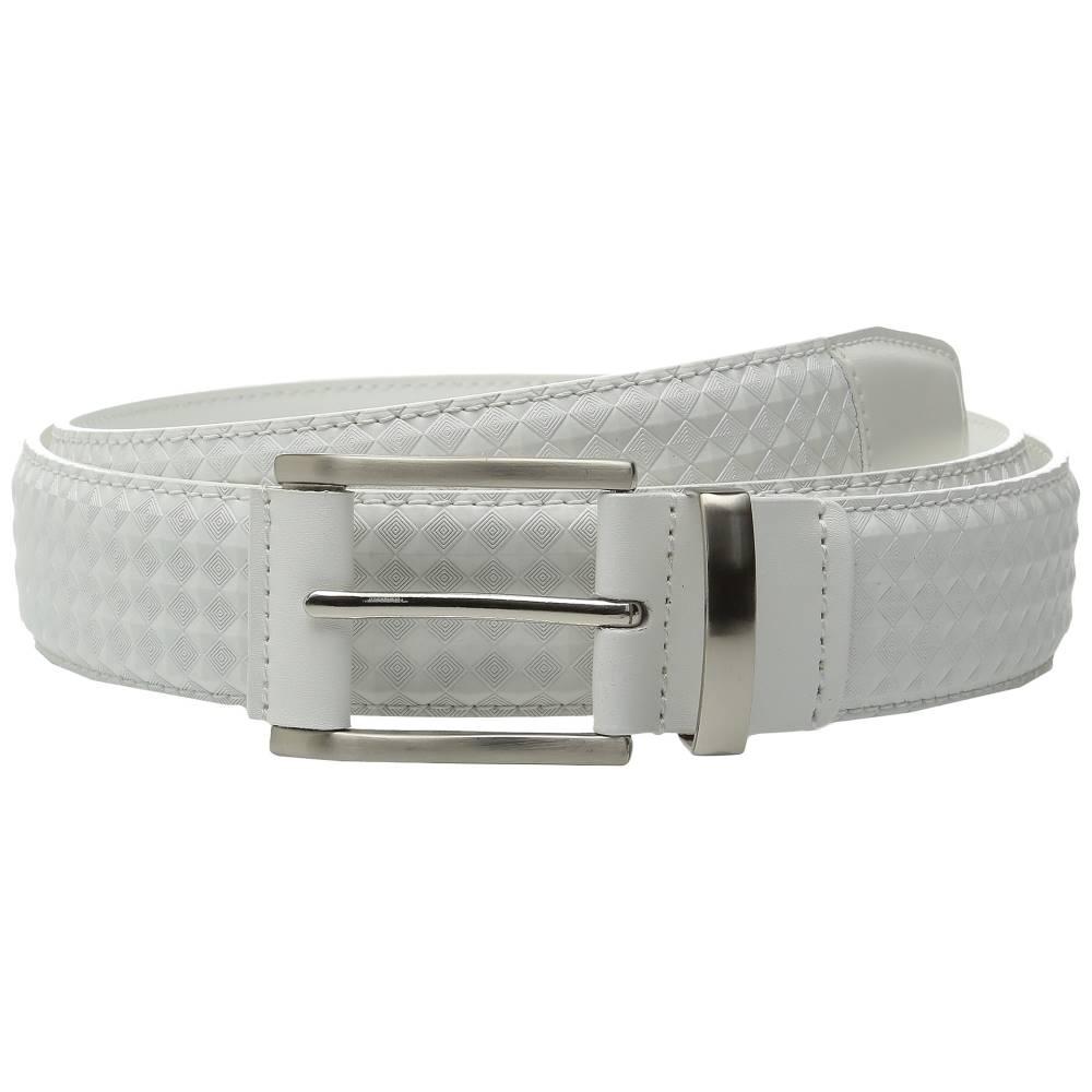 ステイシー アダムス メンズ ファッション小物 ベルト【Fidello 35mm Diamond Embossed Belt】White