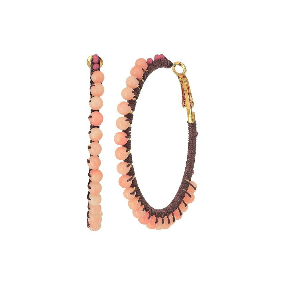レベッカ ミンコフ レディース ジュエリー・アクセサリー イヤリング・ピアス【Thread Wrapped Beaded Hoop Earrings】Coral Multi