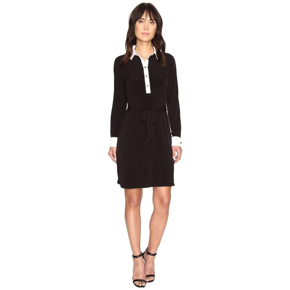 イヴァンカ トランプ レディース ワンピース・ドレス ワンピース【Matte Jersey Dress with Self Tie and Contrast Collar and Cuff】Black/Ivory