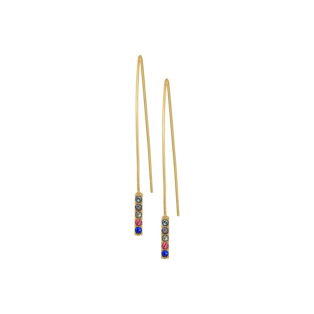 レベッカ ミンコフ レディース ジュエリー・アクセサリー イヤリング・ピアス【Hardwire Threader Earrings with Pave Stick】Gold/Bright Multi