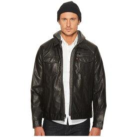 リーバイス メンズ アウター レザージャケット【Faux Leather Trucker with Jersey Hood and Fleece Lining】Black