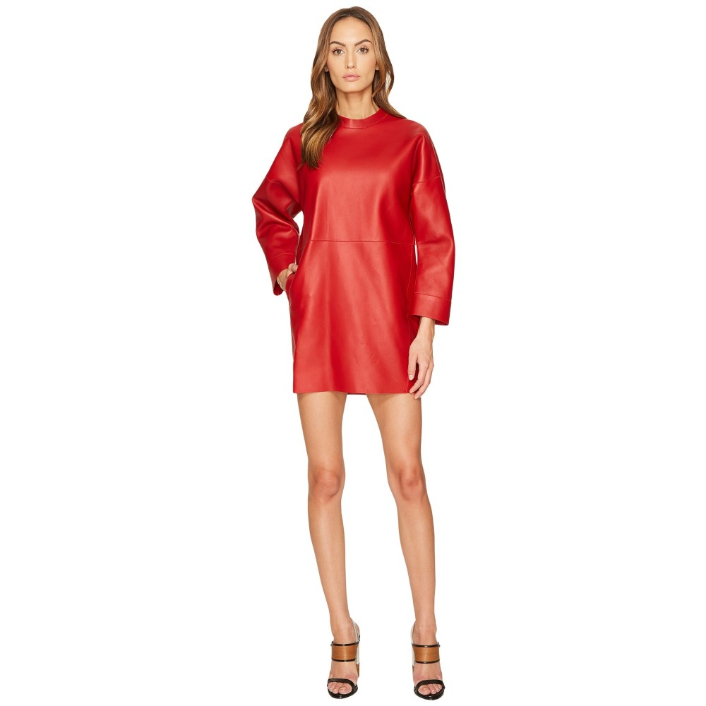 ディースクエアード レディース ワンピース・ドレス ワンピース【Boned Leather Dress】Red